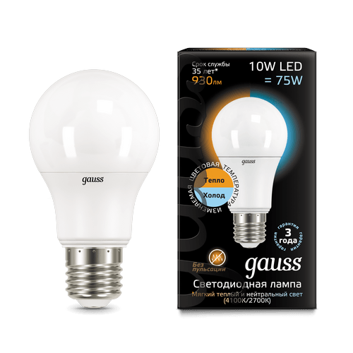 Лампа Gauss LED A60 10W E27 2700K/4100K CTC 1/10/50
