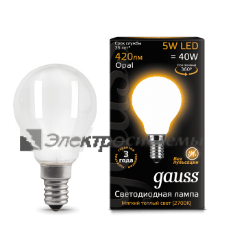 Лампа Gauss LED Filament Globe OPAL E14 5W 2700K