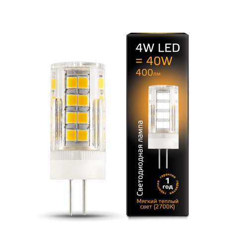 Лампа Gauss LED G4 AC185-265V 4W 2700K керамика 1/10/200