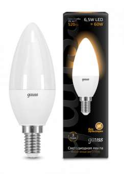 Лампа Gauss LED Candle E14 6.5W 2700К 1/10/50