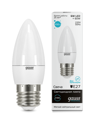 Лампа Gauss LED Elementary Candle 6W E27 4100K 1/10/50