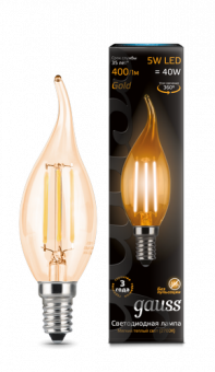 Лампа Gauss LED Filament Candle tailed E14 5W 2700K Golden 1/10/50